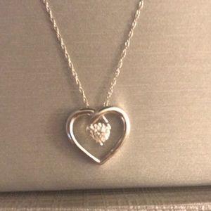 Zales Heart Pendant Diamond White Gold Necklace